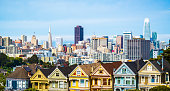 Colorful Row Houses called the Painted Ladies with Skyline Cityscape view in May 2018 San Francisco , California , USA landmark travel destination