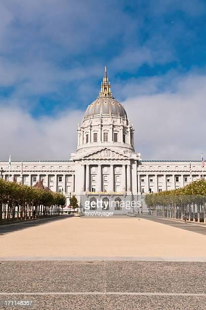 San Francisco City Hall golden dome Civic Center plaza California
