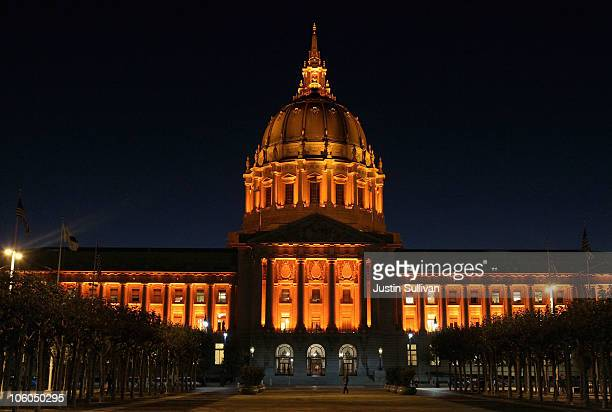 San Francisco city hall is seen illuminated with orange lights in honor of the San Francisco Giants winning the Major League Baseball National League...