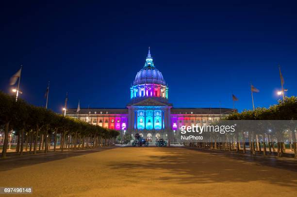 San Francisco City Hall lights up in rainbow color for Pride 2017 on June 18 2017