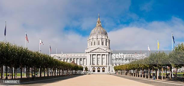 San Francisco City Hall United Nations Plaza summer panorama California