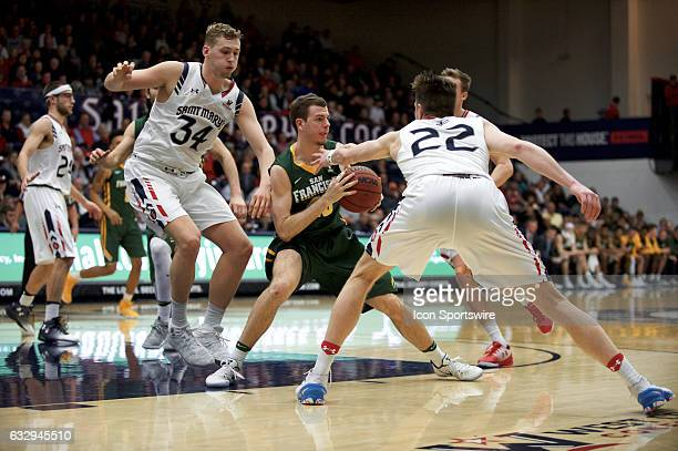 San Francisco Dons guard Mladen Djordjevic passes under pressure by St Mary's Gaels forward Dane Pineau St Mary's Gaels guard Emmett Naar and St...