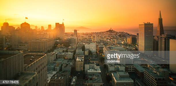 San Francisco Downtown Aerial View at Sunset, California