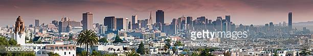 San Francisco downtown city skyline from Dolores Park panorama California