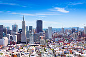 General view of San Francisco downtown skyscrapers and other houses on hills, California USA