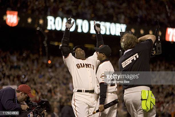 San Francisco Giants' Barry Bonds celebrates home run number 756 in the fifth inning against the Washington Nationals at ATT Park in San Francisco...