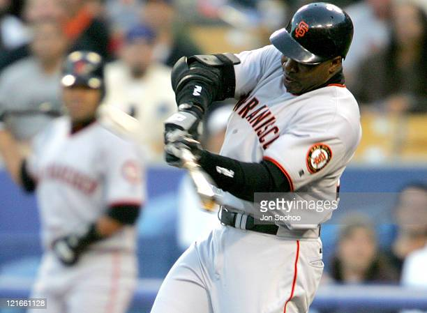 San Francisco Giants Barry Bonds hits threerun home run in the third inning off Hideo Nomo of the Los Angeles Dodgers at Dodger Stadium in Los...