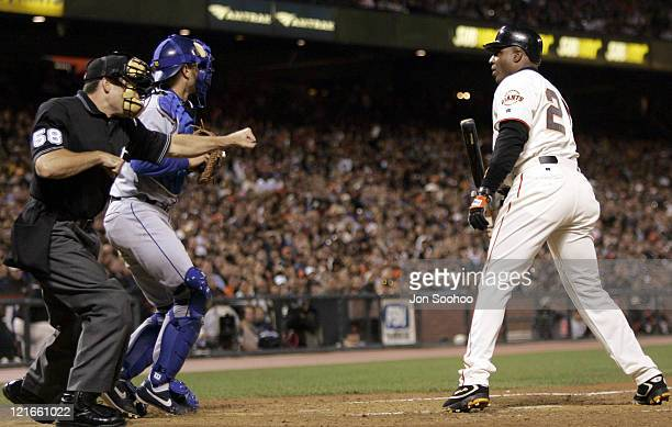 San Francisco Giants Barry Bonds strikes out vs Los Angeles Dodgers September 24 2004 at SBC Park in San Francisco California The Dodgers beat the...