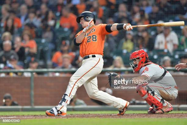San Francisco Giants Catcher Buster Posey at bat during the San Francisco Giants versus Philadelphia Phillies game at ATT Park on August 18 2017 in...