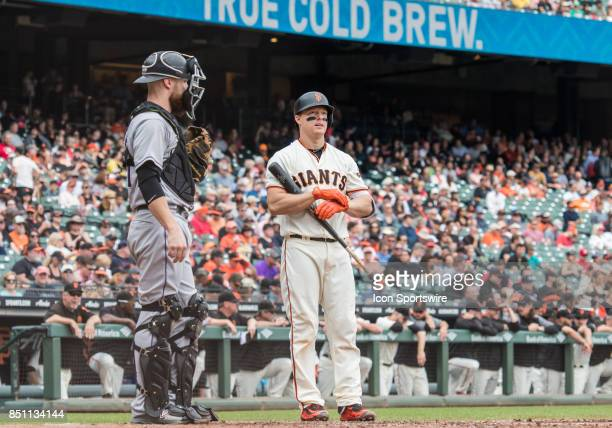San Francisco Giants Catcher Nick Hundley gets set up at home plate for his at bat during the regular season game between the San Francisco Giants...