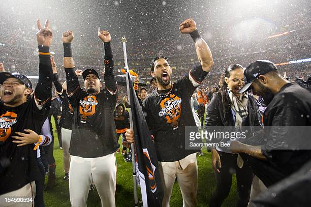 San Francisco Giants celebrate winning the pennant after beating the St Louis Cardinals 90 in Game 7 of the National League Championship Series at...