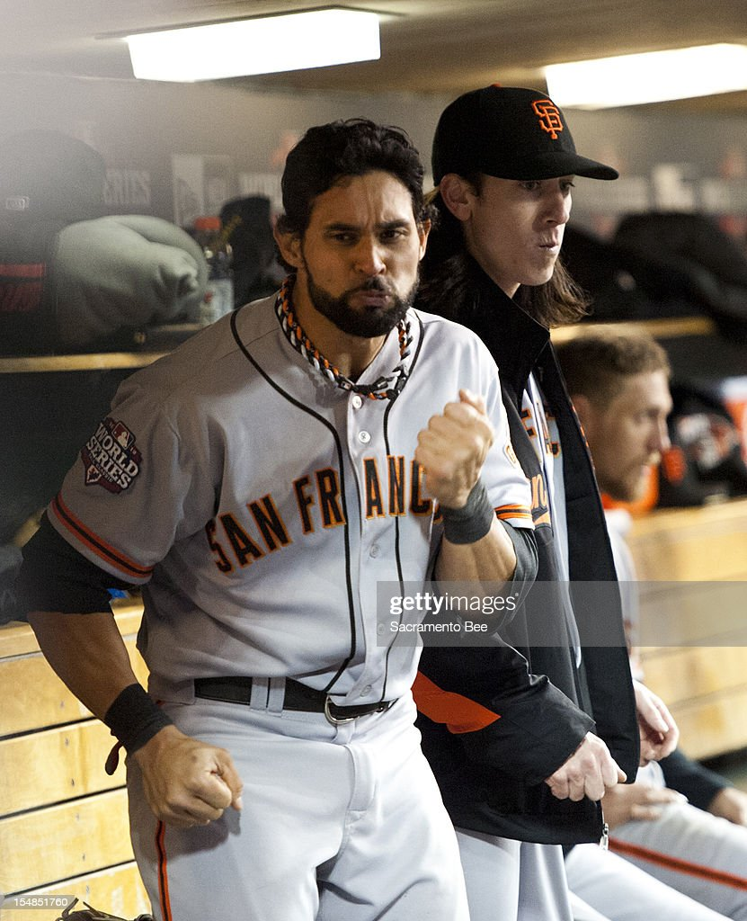 San Francisco Giants center fielder Angel Pagan dances in the dugout in the eighth inning a 2-0 win over the Detroit Tigers in Game 3 of the 2012 World Series at Comerica Park in Detroit, Michigan, on Thursday, October 27, 2012. The Giants now have a 3-0 series lead.