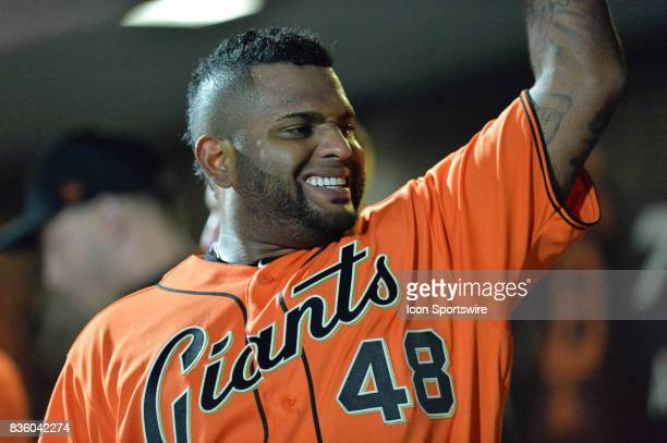 San Francisco Giants Infield Pablo Sandoval celebrates with his team mates in the bull pen during the San Francisco Giants versus Philadelphia...