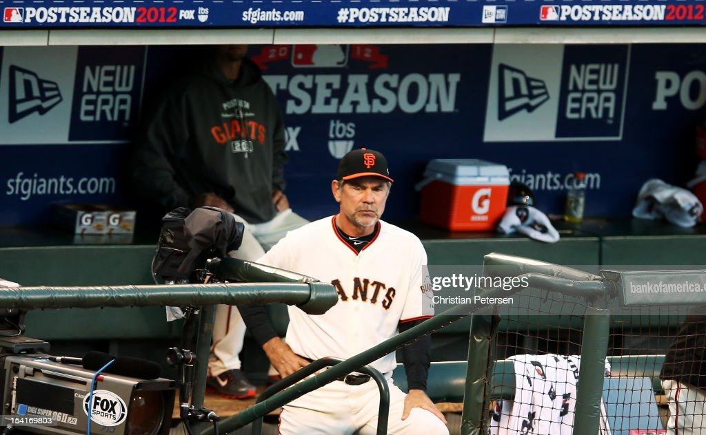 San Francisco Giants manager <a gi-track='captionPersonalityLinkClicked' href=/galleries/search?phrase=Bruce+Bochy&family=editorial&specificpeople=220291 ng-click='$event.stopPropagation()'>Bruce Bochy</a> looks on during Game One of the National League Championship Series against the St. Louis Cardinals at AT&T Park on October 14, 2012 in San Francisco, California.