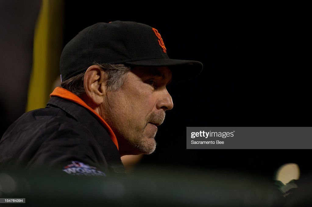 San Francisco Giants manager Bruce Bochy watches action in the seventh inning against the Detroit Tigers in Game 2 of the 2012 World Series at AT&T Park on Thursday, October 25, 2012, in San Francisco, California. The Giants won, 2-0, to take a 2-0 series lead.