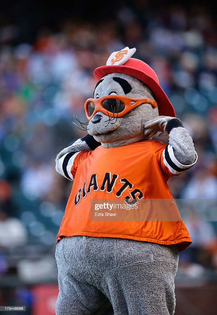 San Francisco Giants mascot Lou Seal stands on the field before their against the New York Mets at AT&T Park on July 8, 2013 in San Francisco, California.