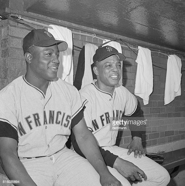 San Francisco Giant's outfielder Willie Mays rejoined the team in Chicago after a bout with the flu bug Mays sits and talks with infielder Jim Hart...