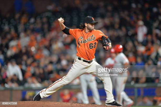 San Francisco Giants Pitcher Cory Gearrin pitches during the San Francisco Giants versus Philadelphia Phillies game at ATT Park on August 18 2017 in...