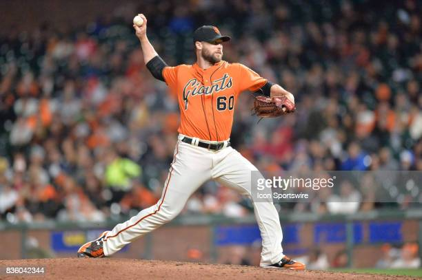 San Francisco Giants Pitcher Hunter Strickland pitching during the San Francisco Giants versus Philadelphia Phillies game at ATT Park on August 18...