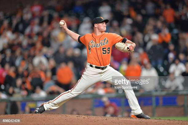 San Francisco Giants Pitcher Kyle Crick pitching during San Francisco Giants versus Philadelphia Phillies game at AtT Park on August 18 2017 in San...
