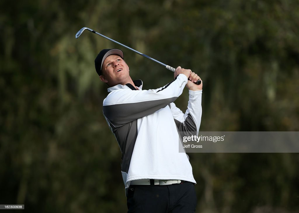 San Francisco Giants pitcher Matt Cain hits a shot during the first round of the AT&T Pebble Beach National Pro-Am at the Monterey Peninsula Country Club on February 7, 2013 in Pebble Beach, California.