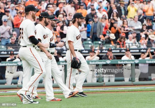 San Francisco Giants Pitcher Neil Ramirez San Francisco Giants Pitcher George Kontos San Francisco Giants Pitcher Hunter Strickland and San Francisco...
