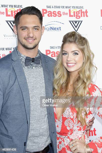 San Francisco Giants pitcher Tyler Beede and actress Allie DeBerry arrive at the premiere of 'Pass The Light' at ArcLight Cinemas on February 2 2015...