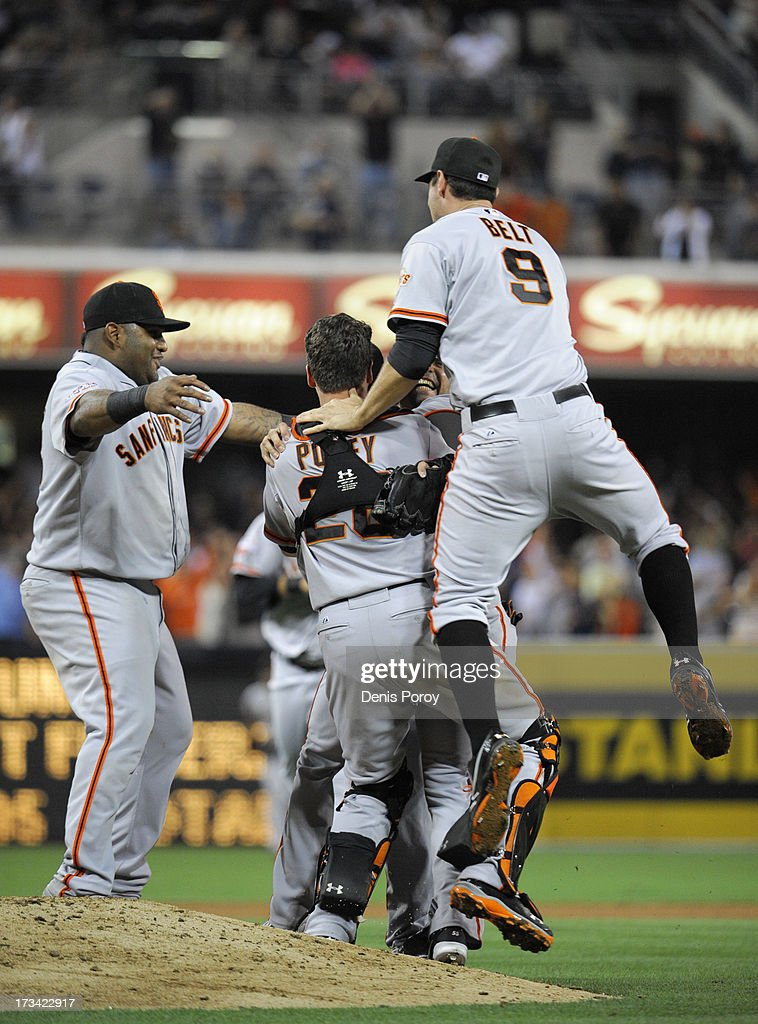 San Francisco Giants players jump on <a gi-track='captionPersonalityLinkClicked' href=/galleries/search?phrase=Tim+Lincecum&family=editorial&specificpeople=4175405 ng-click='$event.stopPropagation()'>Tim Lincecum</a> #55 of after he pitched a no-hitter during a baseball game against the San Diego Padres at Petco Park on July 13, 2013 in San Diego, California.