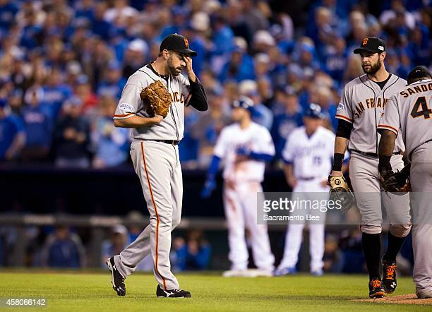 San Francisco Giants relief pitcher Jeremy Affeldt waits for a play to be reviewed by officials in the third inning against the Kansas City Royals in...