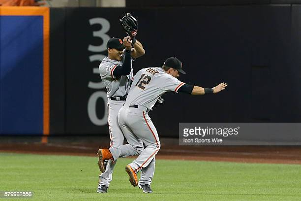 San Francisco Giants right fielder Justin Maxwell calls off San Francisco Giants second baseman Joe Panik and makes the catch during the fifth inning...