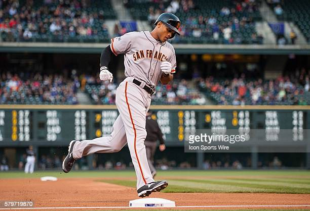 San Francisco Giants right fielder Justin Maxwell rounds the bases after hitting a second inning homerun during a regular season Major League...