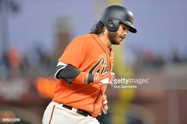 San Francisco Giants Shortstop Brandon Crawford rounding third base during the San Francisco Giants versus Philadelphia Phillies game at ATT Park on...