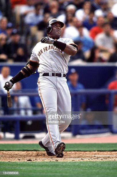 San Francisco Giants slugger Barry Bonds hits his second homer of the day