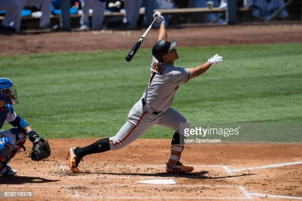 San Francisco Giants third baseman JaeGyun Hwang during the MLB regular season game between the San Francisco Giants and the Los Angeles Dodgers at...
