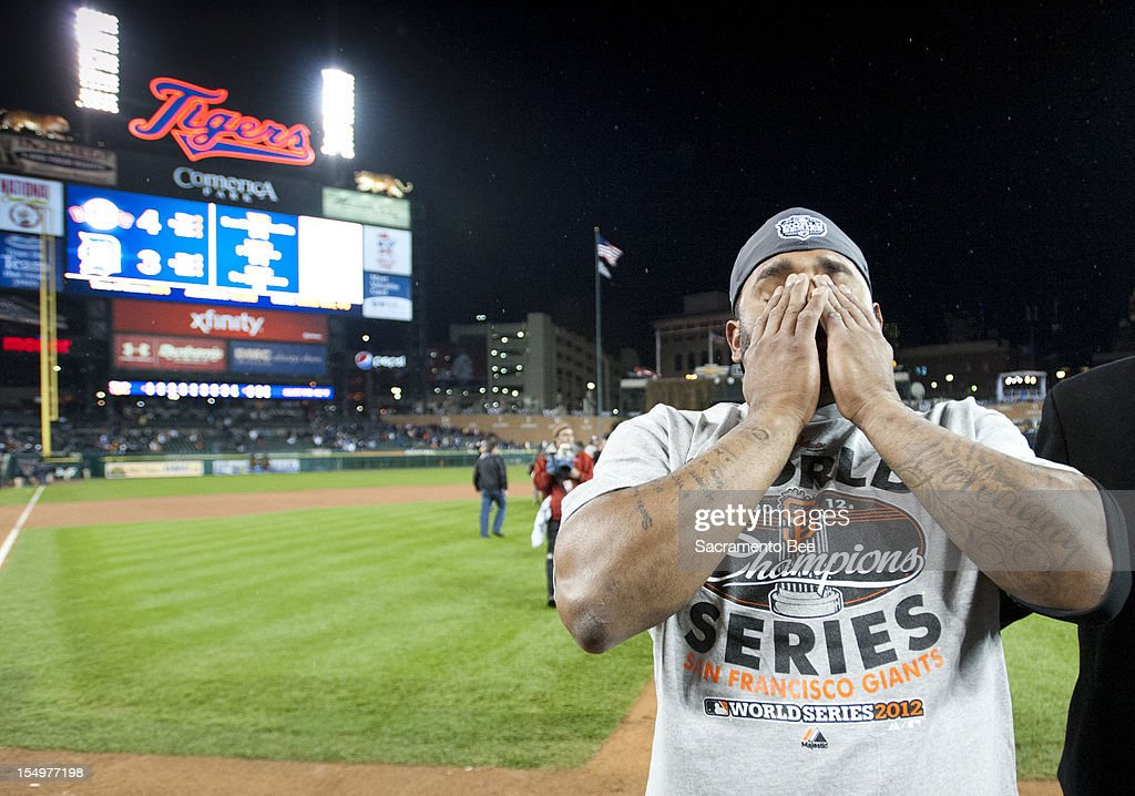 San Francisco Giants third baseman Pablo Sandoval (48), MVP of the World Series, wipes tears from his eyes after the San Francisco Giants beat the Detroit Tigers 4-3 in Game 4 of the World Series at Comerica Park in Detroit, Michigan on Sunday, October 28, 2012.