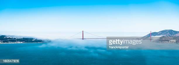 サンフランシスコのゴールデンゲートブリッジから航空機