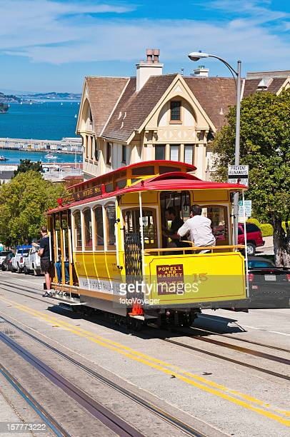 San Francisco iconic cable car riding hill California