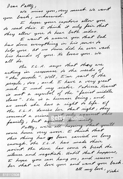 Letter to Patty Hearst from Her Sister Vicki Pictures