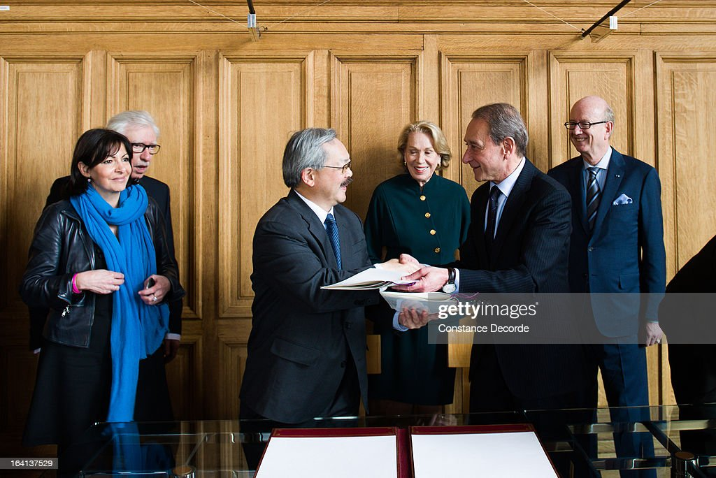 San Francisco Mayor Ed Lee On Official Visit In Paris at the City Hall with Bertrand Delanoe and Anne Hidalgo on March 20, 2013 in Paris, France.