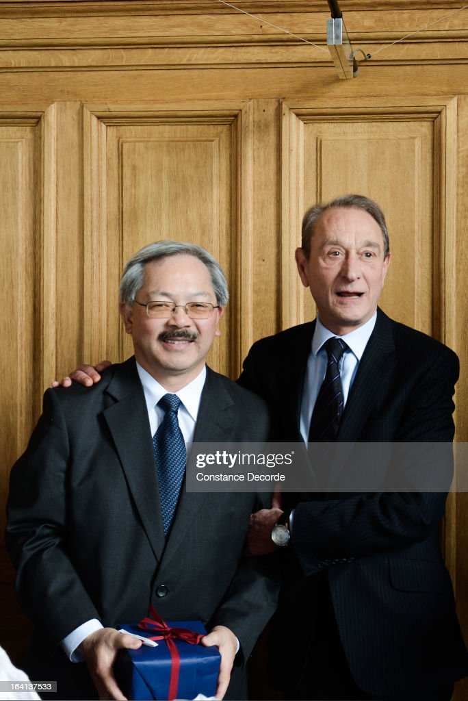 San Francisco Mayor <a gi-track='captionPersonalityLinkClicked' href=/galleries/search?phrase=Ed+Lee+-+Politician&family=editorial&specificpeople=5122386 ng-click='$event.stopPropagation()'>Ed Lee</a> On Official Visit In Paris at the City Hall with <a gi-track='captionPersonalityLinkClicked' href=/galleries/search?phrase=Bertrand+Delanoe&family=editorial&specificpeople=206163 ng-click='$event.stopPropagation()'>Bertrand Delanoe</a> on March 20, 2013 in Paris, France.