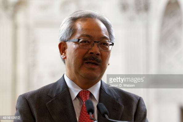 San Francisco mayor Ed Lee speaks during a press conference announcing TPC Harding Park as host of the 2015 World Golf Championships Match Play...