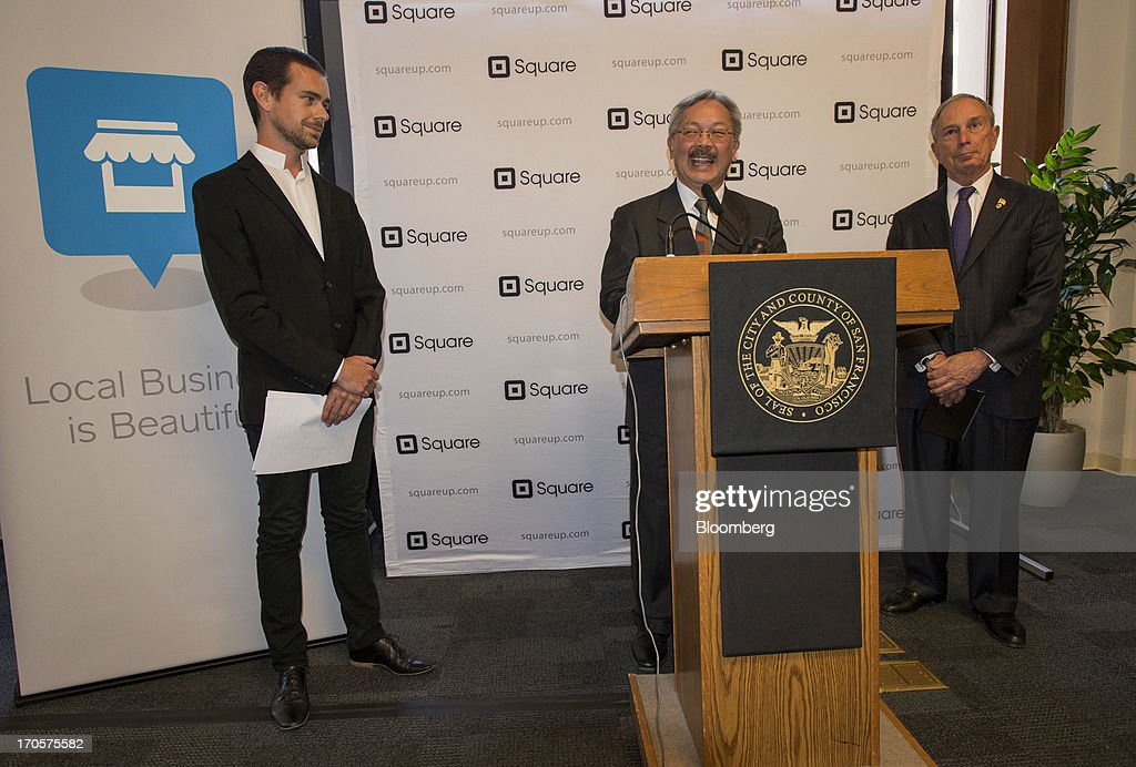 San Francisco Mayor Edward 'Ed' Lee, center, speaks as <a gi-track='captionPersonalityLinkClicked' href=/galleries/search?phrase=Jack+Dorsey&family=editorial&specificpeople=5818892 ng-click='$event.stopPropagation()'>Jack Dorsey</a>, chairman and co-founder of Twitter Inc., left, and New York City Mayor Michael 'Mike' Bloomberg listen during a press conference in San Francisco, California, U.S., on Friday, June 14, 2013. Dorsey, Mayor Bloomberg and Mayor Lee announced today that they will co-host the second annual Bloomberg Technology Summit to be held in New York on September 30. Photographer: David Paul Morris/Bloomberg via Getty Images