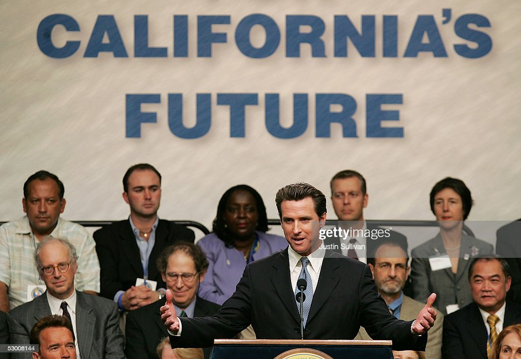 San Francisco Mayor Gavin Newsom speaks during a bill signing ceremony at the United Nations World Environment Day June 1 2005 in San Francisco...