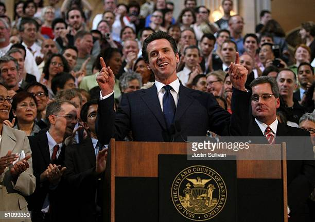 San Francisco Mayor Gavin Newsom speaks during a news conference following a California Supreme Court decision to overturn the ban on samesex...