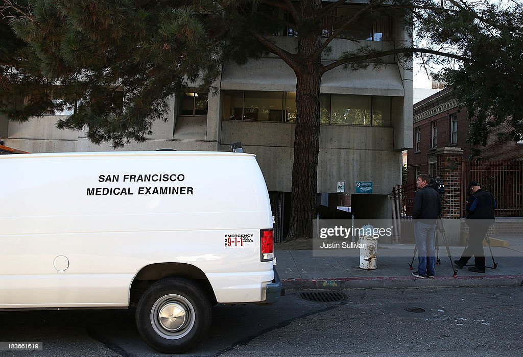 A San Francisco medical examiner's van is seen parked in front of San Francisco General Hospital on October 8, 2013 in San Francisco, California. 57-year-old Lynne Spalding, of San Francisco was believed to have been found dead this morning in a remote stairwell at San Francisco General Hospital after she was reported missing from her hospital room more than two weeks ago. Spalding was last seen on September 21 by hospital employees after she was undergoing treatment for an infection.