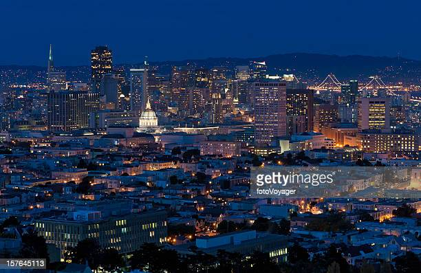 San Francisco neon night blue dusk illuminated downtown windows California