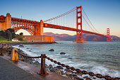 Image of Golden Gate Bridge in San Francisco, California during sunrise.