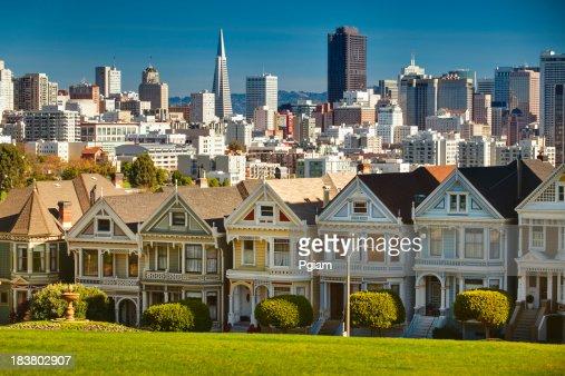 San Francisco postcard row skyline
