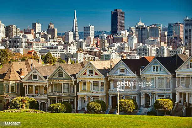 San Francisco postcard row skyline