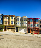 San Francisco Potrero hill residential houses with garages built on the side of a hill